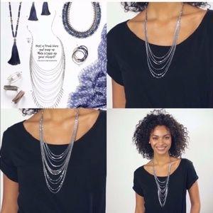 stella & dot ~ lindsay layering necklace silver